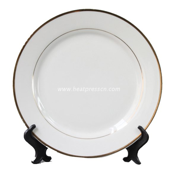 "10""Gold-Edge Double Gold Banded Plate for Sublimation GEP10"