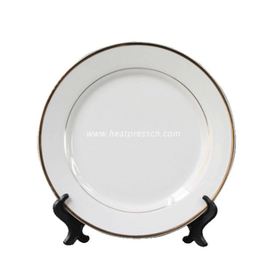 "8""Gold-Edge Double Gold Banded Plate for Sublimation GEP8"