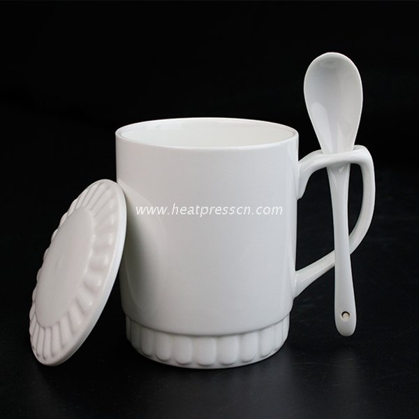 11oz Sublimation Photo Coated Mug with Spoon And Lid SML