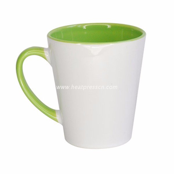 12oz Inner And Handle Colorful Cone Mug
