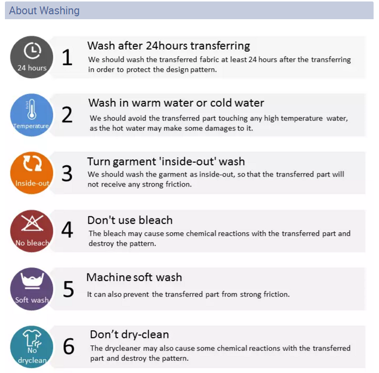 washing instruction - heat transfer vinyl
